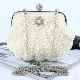 Wholesale Satin Pearl Bags - Cheap Ivory White Pearls Wedding Bridal Hand Bags 2017 Hot Style Fashion Women Beaded Clutch Bags For Party Evening Handbags
