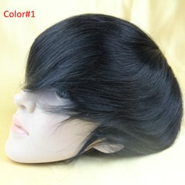 Wholesale Adult Hair Wave - 6x8inch replacement wig natural black color natural wave men's toupee hair pieces 130% density 3# mono lace with NPU around