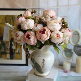 peonie di tocco reale all'ingrosso Sconti All'ingrosso - Real Touch Silk Flower Artificial Peony Bouquet europeo Fiori in vasi decorativi Fake Leaf Wedding Party Decorazione della casa