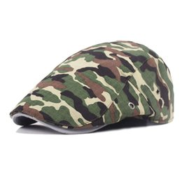 Wholesale Camouflage Caps Hunting - Mens Womens Beret Newsboy Cap Military Camouflage Solid Color Duckbill Driving Hunting Golf Cabbie Hat Free Shipping