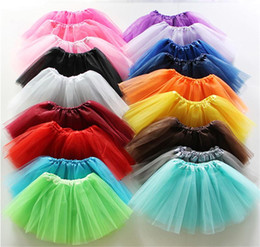 Wholesale Girls Tutu Gauze Dress - 17 Colors Baby Girls Dancing Tulle Tutu Skirt Gauze Pettiskirt Children Kids Dancewear Ballet Dress Fancy Skirts Costume skirt KTS01