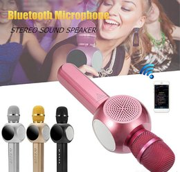 Wholesale Loudspeaker Android - H6 Wireless Microphone Bluetooth Speaker with Large Capacity Battery Karaoke Loudspeaker for Iphone X and Android Smartphone With Retail Box