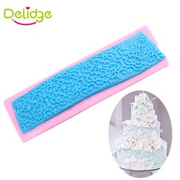 Wholesale Lace Chocolate Mold - Delidge 20 pc Lace Flower Cake Mold Silicone 4 Designs Beautiful 3D Fondant Mold DIY Weeding Cake Decoration Chocolate Mould