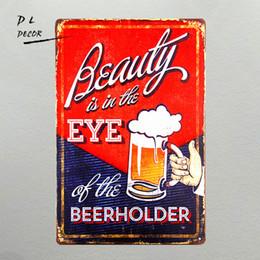Wholesale vintage bottle holder - DL-Beauty Eye Beer Holder Funny Bar Bottle Drink Vintage Advertising Tin Sign