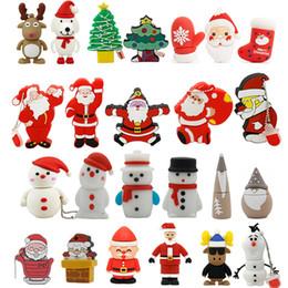 Wholesale Dog Usb Drives - Cheap Promotional Christmas Gift Stockings Boot Santa Claus Dog Tree Deer Olaf USB 2.0 PVC Memory Sticks Flash Drive 1GB - 32GB Pendrive