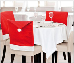 Wholesale Cloth Table Covers For Parties - Christmas Chair Covers Santa Clause Red Hat for Dinner Decor Home Decorations Ornaments Supplies Dinner Table Party Decor 500Pcs