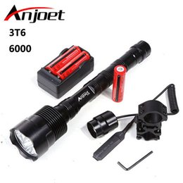 Wholesale Gun Mounted Flashlight - Anjoet 6000lm Powerful Xml 3xt6 Led Tactical Flashlight 18650 Lantern 5mode Torch +Battery +Charger +Remote Switch +Gun Mount