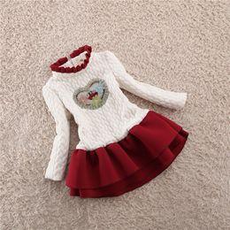 Wholesale Girls Tweed Dress - Baby Kids Clothing 2018 vintage Flower girl dresses winter children European christmas Thicken Tweed Patchwork dress tutu Ball Gown #P2104