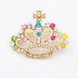 Wholesale Asian Hijab Wholesalers China - Multicolor Crystal Popular Gold Crown Brooch High Quality Women Brooch Pins For Hijab Wear Exquisite Lady Broaches