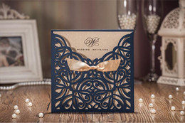 Wholesale Birthday Christmas Cards - 50pcs special dark blue personalized text Laser Cut Wedding Invitations wedding party cards with ribbon envelop sealed stikcer free shipping