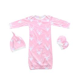 Primavera bebê sacos de dormir outono algodão infantil bebê dormindo conjuntos de roupas chapéu + longo t shirt + luvas meninos meninas supplier girls cotton gloves de Fornecedores de luvas de algodão meninas