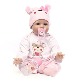 Wholesale Baby Easy Carry - New 22'' Handmade Lifelike Newborn Silicone Vinyl Reborn Baby Doll Full Body Reborn Baby Doll with Clothes bottles Easy carry