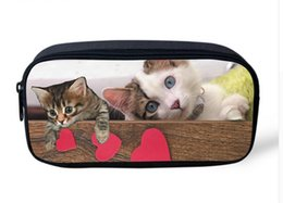 Wholesale orange pencil case - Wholesale- Cute Pet Cat Dog Printed Travel Cosmetic Bags Organizer Jeans Denim Blue Makeup Bags for Make Up Case Storage Animals Pencil Box