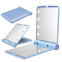 Wholesale Led Mirror Covers - Cosmetic Mirror LED Light Desktop Portable Compact 8UV lights Lighted Travel Make up Mirror Flip Cover Mirror with Retail Box