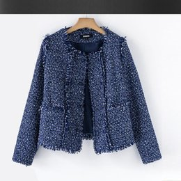 Wholesale Winter Coat Women Small - Blue tweed jacket autumn   winter high-end women's coat small fragrant wind flash braid ladies jacket 1508