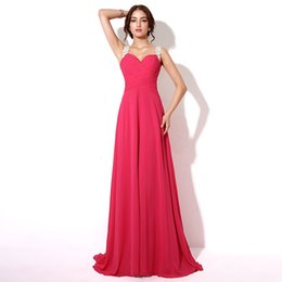 Wholesale Charm Flowing Dress - Charming Fuchsia Chiffon Lace Appliques Prom Dresses 2017 Sweetheart Neckline Sheer Back Pleated Evening Gowns Flowing A-line Formal Dress