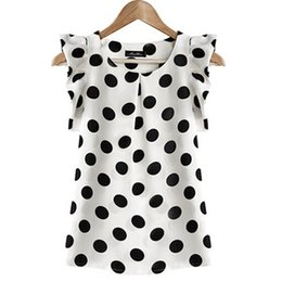 Wholesale Dotted Ladies Chiffon Tops - Wholesale-2016 Hot Sales New Summer Womens Ladies Chiffon Puffed Short Sleeve Dot Print Top T-shirts plus size