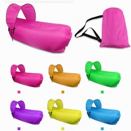 Wholesale Children Sunshades - Inflatable Lounger with Sunshade Portable Waterproof Fast Inflatable Air Bag Beach Flatfish Sleeping Bed Air Sofa for Camping Hiking