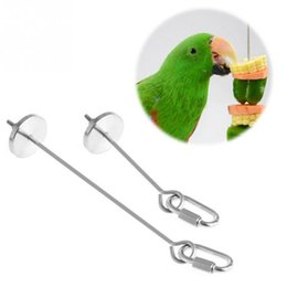 Wholesale Bird Toys Parrot - Bird Parrot Cage Stainless Steel Skewer Food Meat Stick Spear Fruit Holder Toy