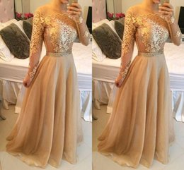 Wholesale Pink Off Shoulder Celebrity Dress - Long Sleeves Champagne Prom Dresses Lace Appliques off Shoulder Bateau Custom Made Formal Evening Celebrity Gowns Beaded Sash Chiffon Party