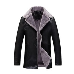 Wholesale Leather Jacket Mens Button Brown - Wholesale- New Fashion Leather Jacket Men Black Brown Solid Mens Add Wool Skin Cotton-Padded Clothes Thickening And Mast Size 8XL Coat