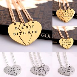 Wholesale Gold Plated Parts - Broken Heart Pendant Necklaces Best Friend Forever 3 Parts Heart Necklace for Women Pendant Statement Jewelry Wholesale