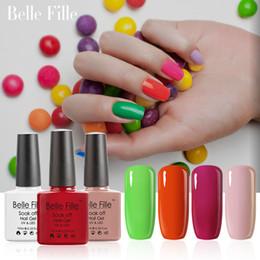 Wholesale Sweet Colors Nails - Wholesale- Belle Fille 10ml Nail Gel Polish 79 Colors Base Top Coat UV Gel Polish Soak Off UV LED Gels Candy Color Shining Nude Sweet Gel