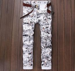 Wholesale Pencil Prints - Wholesale-europen American fashion brand Men's casual jeans Straight luxury Print slim trousers cotton sexy Pencil Pants white jeans men