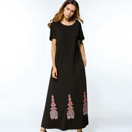 Wholesale Empire Tunic Size Xl - Abaya Turkish Black Embroidery A line long Maxi Dress Summer 2017 plus size X-long Dresses elegant womens tunics Islam Muslim clothes