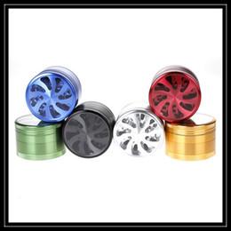 Wholesale Fans Parts - 6 Colors Aluminum Alloy CNC Teeth Herb Grinder 4 Piece Parts 63mm with Transparent Petal Fans Shape Hard Metal Grinder Smoking Accessories