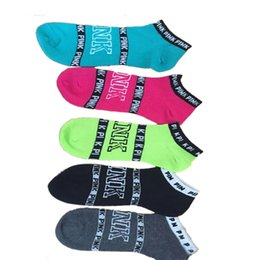 Wholesale Pink Hosiery - Pink Letter Socks Pink Ankle Sock Sports Sock Cotton Hosiery Girls Fashion Sexy Ship Sock Campus Party Socks Wholesale 3005003