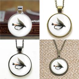 Wholesale Flies Photo - 10pcs Fly Fishing Glass Photo Necklace keyring bookmark cufflink earring bracelet
