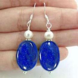 Wholesale Lapis Heart - Lapis Lazuli Gemstones White pearl Silver Hook Dangle earrings 2PC earring