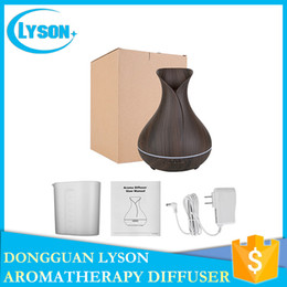 Wholesale Wood Box Vase - Vase Shape 300ml Capacity Ultrasonic Essential Oil Aromatherapy Diffuser Cool Mist Wood Grain Aroma Humidifier Diffuser