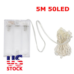 Wholesale Sparkling Lights Battery Operated White - Edison2011 US Stock 5m 50Leds New Mini LED Copper Wire String Warm While 3AAA Waterproof Battery Operated Fairy Sparkle Lights Free Ship