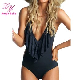 Wholesale Deep Cut One Piece Swimsuit - Sexy Swimwear Women One Piece Swimsuit High Cut Bathing Suit Deep V Swimming Suit Backless Swim Wear maillot de bain femme 2509