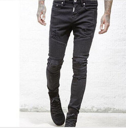 Wholesale Mens Striped - represent clothing designer pants slp blue black destroyed mens slim denim straight biker skinny jeans men ripped jeans