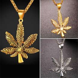 Wholesale Leaf Pendant Gold - U7 New Vintage Maple leaf Pendant Necklace Stainless Steel Gold Plated Retro Rope Chain Pendant Leaves Sweater Collier Femme Gift GP2418