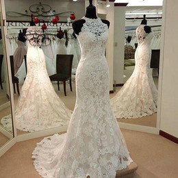 Wholesale Gowns Wedding Apparel - Robe De Marrier Wedding Dresses 2017 Mermaid Hign Neck Bride Gowns Off the Shoulder Full Lace Women Apparel Sweep Trai