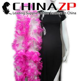 Venta al por mayor de las buenas de plumas rosadas online-Proveedor líder CHINAZP 10 yardas / lote 80G / pieza teñida de blanco con Hot Pink Turkey Flat Boa de plumas al por mayor