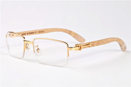Wholesale Wood Legs Square - Hot Selling Brand Designer Men Eyeglasses Decor Semi Rimless Alloy Frame Buffalo Wood Legs Men Sunglasses lunettes de soleil