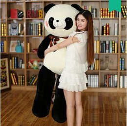 Wholesale Huge Panda Plush - Hot Pop 140cm Huge Soft Animal Panda Plush Toy 55'' Large Stuffed Cartoon Pandas Doll Pillow Hug Bear Present