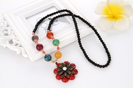 Wholesale Crystal Decorative Items - National Wind Crystal Bead Chain New Item Decorative New Retro Bohemian Fashion Sweater Chain Long Necklace Dragon Beaded Pendant