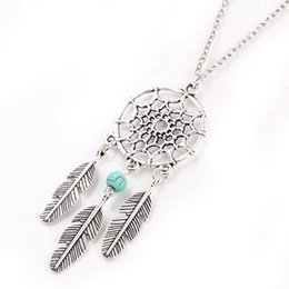 Wholesale Long Statement Necklaces - Hot dream catcher statement necklaces dreamcatcher antique silver Turquoise wings feather long pendant necklaces for women 4 styles