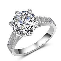 Wholesale 2ct Diamond Band - 2016 New Fashion Jewelry 2ct Big Stone 925 sterling silver Simulated Diamond Wedding Crown Women Band Ring Size 5-10