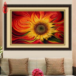 Wholesale Sunflower Paintings - YGS-359 DIY 5D Diamond Embroide The Beautiful Sunflower Round Diamond Painting Cross Stitch Kits Diamond Mosaic Home Decoration