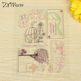 Wholesale Hand Glass Ornaments - Wholesale- One Sheet Flowers Birds Silicone Transparent Stamps Seal Ornaments For Scrapbook Photo Album Card Hand Account Decor DIY Supply