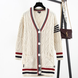 Wholesale Sweater School - Autumn Wool Long Cardigan Sweaters 2017 Winter Thick School Academic Style V Neck Twist Single Breasted Oversize Loose Jumpers Knitted Coats