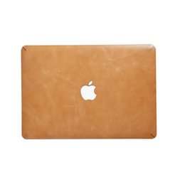 Wholesale Macbook Air Stickers - Laptop stickers covers cases for Apple MacBook air pro cover full grain cow leather laptop protective case with repeatable 3M sticker