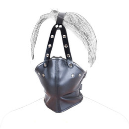 Wholesale Mask Leather Sex Free - Free Shipping!2016 New PU Leather Head Harness Mouth Mask With ABS Ball Mouth Gag Mask Humiliate Salve BDSM Bondage Restraint Sex Products